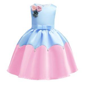 Nouveau bébé filles robe de soirée princesse été Stereo fleur ceinture enfants robe formelle de mode perle à volants sans manches enfants robe de bal C5392