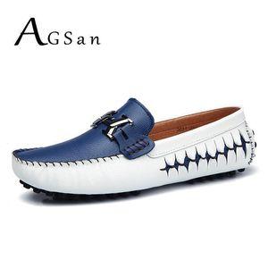 AGSan Männer Faulenzer echtes Leder beiläufige Schuhe gleiten auf Mensbootsschuhe italienischen Designer fahren blau schwarz Mokassins Schuhe