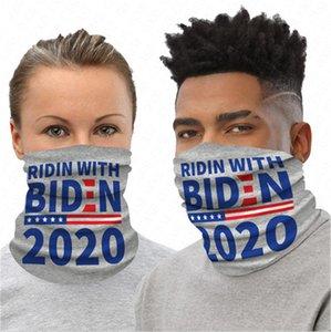Biden Presidente 2020 Ciclismo Scarf Imprimir cartas Sports Máscara lavável Ciclismo Equitação Outdoor Suba Neck Magia Turban adulto Máscaras D61604