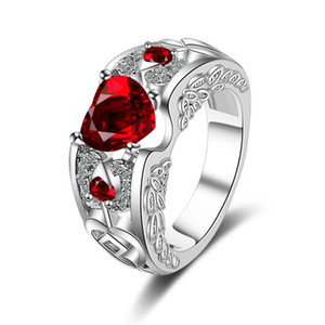 2019 Popular girls finger ring red heart diamond ring love opening ring sweet finger hand jewerly women gift lady fashion accessories