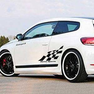 Клетчатый флаг гоночный стиль виниловые наклейки стикер украшения кузова спортивного автомобиля для Ford Toyota Mazda Nissan
