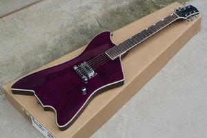 Горячая продажа Фабрика Фиолетового тело электрическая гитара с Билли Бо Signature, Chrome Hardware, Body Binding, 1 пикапов, может быть настроена