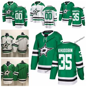 2019 Anton Khudobin Dallas Stars Sterne Hockey Trikots Mens Günstige Custom Name Startseite Grün # 35 Anton Khudobin genähtes Hockey Shirt S-XXXL
