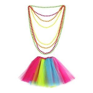 Womens 1980 roupas extravagantes do arco-íris Luvas saia tutu Coxa alta meias dedos colar de contas de Cosplay Partido Retro
