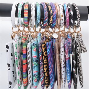 Free DHL Wristlet Keychain Bracelet Bangle Wallet Cute Keyring Large Circle Key Ring Leather Tassel Bracelet Bag Mini Sunflower Purse M292Y