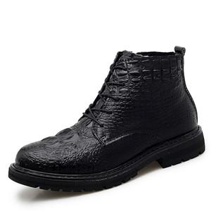 Erkek Ayakkabı Deri Günlük Moda Yüksek Kalite Timsah Cilt Deri Ayakkabı Kürk Peluş Dantel-up Kış Ayakkabı Büyüklüğü * 8113 37-46 Isınma