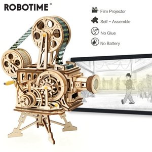 Robotime 183pcs Retro Diy 3D Hand Crank Film Projector Wooden Model Building Kits Assembly Vitascope Toy Gift for Children Adult MX200414