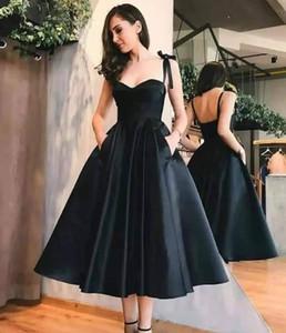 Vintage Little Black Satin Короткие линии коктейльные платья с карманом 2020 Длина Arabic Ruched чай Формальное партии выпускного вечера платья