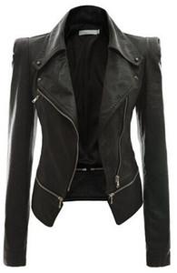 Новая женская кожаная куртка из искусственной кожи с длинным рукавом Женская верхняя одежда кожаное пальто мотоциклетные куртки осень зима одежда P689