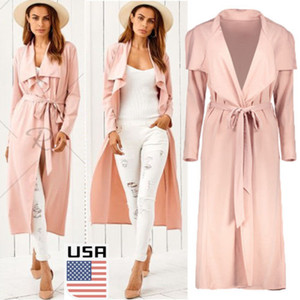 2018 USA Women's Long Sleeve Cardigan Open Front Draped Solid Strap Lace up Loose Casual Irregular Hem Trench