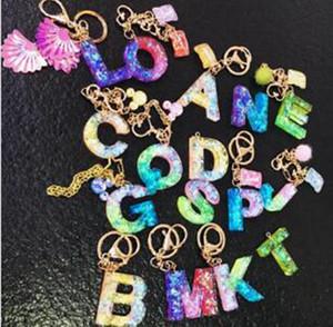 26 Cartas llavero Llavero del color del caramelo dulce de la letra Llavero bolsa Estudiante colgante encantador lindo ornamentos del coche llaveros IIA166