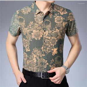 Hommes d'affaires T-shirts d'été Fashion Designer Floral imprimé Polo manches courtes Lapel T-shirts de luxe