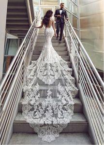 Sirena del cordón lleno vestidos de novia de tul con cuello redondo apliques Volver hueco de tren capilla más el tamaño de vestidos de novia de la boda Vestidos de boda