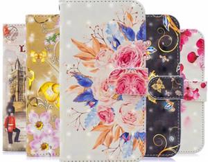 6.1 6.5 2019 3D 가죽 지갑 케이스 로즈 버스 런던 꽃 나비 꽃 ID 슬롯 포켓 홀더 지갑 파우치 최대 5.8 프로 아이폰 11