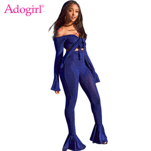 Adogirl Shining Silver Wire Two Piece Set Tie Bow Off Shoulder Long Bell Sleeve Crop Top Skinny Flare Pants High Stretchy Outfit Y200701