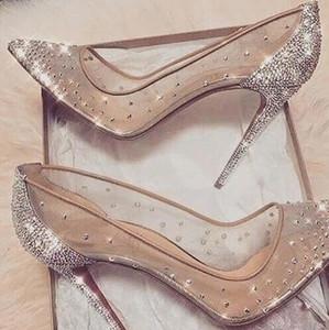 2019 новая коллекция весна лето элегантные стили женская обувь горный хрусталь высокие каблуки кристаллы острым носом сетка туфли на высоком каблуке женщина красная подошва свадебная обувь