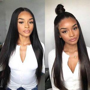 حريري مستقيم الدنتلة الجبهة الشعر العذراء البرازيلي الإنسان 360 كامل الرباط الباروكات للنساء اللون الطبيعي