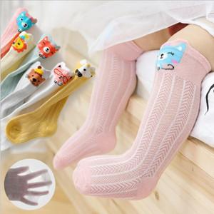 Ragazze dei neonati dei calzini del cotone dei capretti mesh traspirante morbido Calze Neonato fumetto antiscivolo lunghi calzini infantili casuale calzettoni PY576