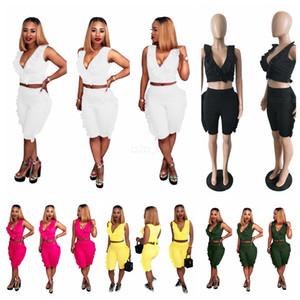 Kadın kolsuz üstleri şort 2 parça set v boyun Yaylı Kenar kıyafetler eşofman koşu sportsuit gömlek kısa legging pantolon takım LJJA2592