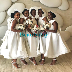 Onur Elbise Big Bow Aplike Custom Made Backless Tea_length 2020 Beyaz Gelinlik Modelleri Afrikalı Genç Düğün Misafir Önlük Hizmetçi