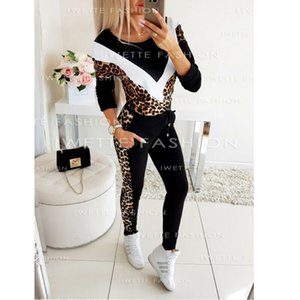 2020 Женской Tracksuit Зима Spirng повелительница сращивание руно леопардового Лоскутное пальто Две пьесы Набор Толстовки Длинные штаны XL