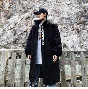 Diseñador impreso abrigo grueso suelto invierno moda para hombre más tamaño abrigos lujo Parkas para hombre