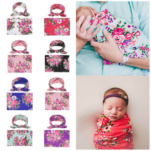 European and American children's baby Blankets newborn babys Swadding hair band set wrapping towel 2pcs set Home Textiles T2C5248