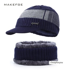2019 men's knitted two-piece set plush wool windshield sweater hat scarf