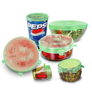 htga alta qualidade 6PCS / Set reutilizável Silicone embrulhar alimentos frescos Manter Enrole Cozinha Ferramentas Silicone Food Enrole Seal tampa de cobertura estiramento Novas