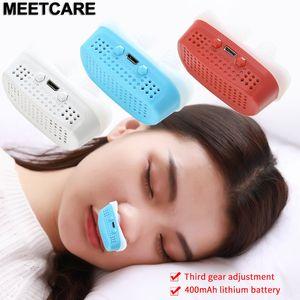 Actualizar USB eléctrico Lucha contra el ronquido CPAP nariz interrupción de la respiración purificador de aire de silicona clip de la nariz Apnea del sueño Dispositivo de Ayuda Libere