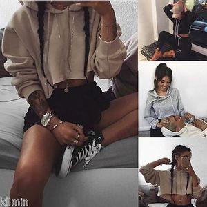 New Fashion Women Sweatshirt Long Sleeve Hoodie Short Sweatshirt Casual Crop Top Coat Pullover Tops
