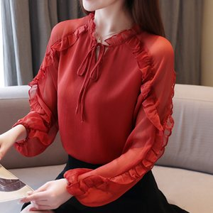 Women blouse shirt 2020 Spring long sleeve chiffon blouse women Elegant Slim ruffle shirt plus size women tops