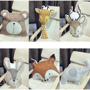 Animali del fumetto Volpe Orso Coniglio Giraffa Cervo Elefante Cuscino Bambino Calma Sonno Cuscino Nordic Kids Room Decoration Toy Photo Puntelli