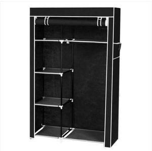 """64 """" портативный шкаф организатор хранения шкаф вешалка для одежды с полками черный"""