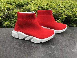 Kids Running Shoes Fashion kids High-top Sneakers Luxury Boost Sock Shoes Stretch Knit Jogging Speed High Slip on Sneakers soft bottom