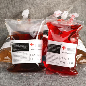 Cosplay de Halloween Bolsa de sangre jugo de bebida de la energía bolso del partido evento de Halloween suministra la bolsa reutilizable Puntales Vampiros del paquete bolsas de 350 ml