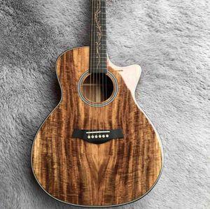 Özel kafayla Pikap EQ ile Katı Koa Wood Kesit Vücut Gülağacı Akustik Gitar Logo ve Tasarım Özelleştirilmiş edilebilir