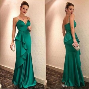 Real Image Evening Dresses spaghetti robe de soiree Long Elastic Satin Beads Formal Prom Gowns Cheap Rachel Allan custom made sweep train