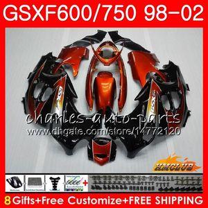 Corpo para SUZUKI KATANA GSX600F laranja GSXF750 1998 1999 2000 2001 2002 2HC.59 GSXF 750 600 GSX750F GSXF600 98 99 00 01 02 Kit de carenagem