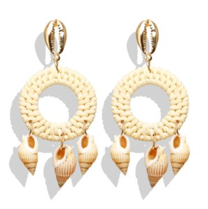 Folk-custom Retro Vintage Fashion Accessories Jewelry Weave Rattan Mouth Shell Conch Pendants Circle Charm Drop Dangle Earrings For Women