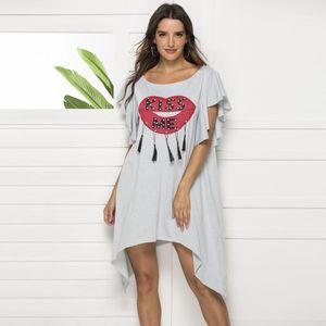 Dress Brief Lady Cloth Red Lip With Letter Print Woman Dress Fashion Tassel Rhineston Donna Summer