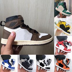 2020 Детская одежда Обувь Браун низкий Travis Скоттс Дети Баскетбол обувь Pine Green игры Royal 1 Высокие OG 1s Спортивные кроссовки Детские малышей Кроссовки