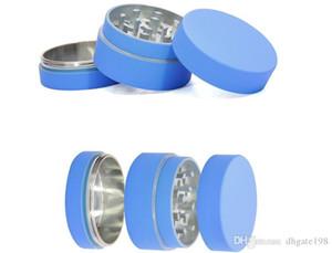 Rosa / azul / amarelo silicone revestido de zinco liga herbário moedor revestido com silicone Metal moedor 40mm 3 camadas de peças triturador de tabaco moedor
