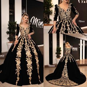 Длина Элегантный черный бальное платье Пром платья бисером V-образным вырезом Velvet пола вечернее платье Вечерние платья Wear Платье De Festa Abendkleider
