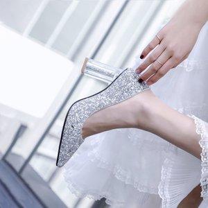 Hot2019 Paillette 웨딩 신부 들러리 한 쌍의 부인 여름 거친 높은 들러리들 Sharp Sharp One Pedal Women 's Shoes