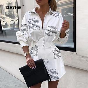 Сексуальная ELSVIOS отложным воротником кнопка рубашка Платье женщины осень Письмо печати с длинным рукавом мини-платье элегантные дамы офис платье
