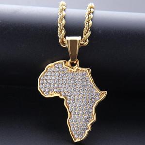 Mapas de alta calidad africanos taladro completo collares pendientes chapado en oro del punk Conjunto sinfín de Cristal de acero inoxidable para hombre collar de la mujer regalos de joyería