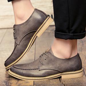 NUEVO 2020 Spring Casual Hombres Zapatos Color Brown Color Designer Lace Up Genuine Cuero Luz Luz Peso transpirable Hombre Calzado * 7668