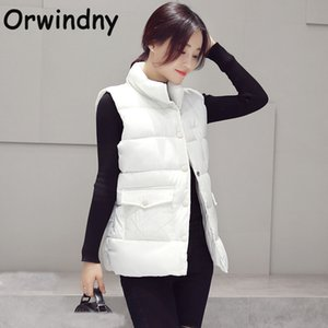Brasão Orwindny Inverno Cotton Vest Mulheres Nova Moda Fique Collar mangas Tanque Jacket cor sólida Magro Outono Exteriores Colete