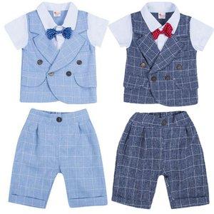 2Pcs Gentleman малышей Мальчики Bowknot Plaid Жилет Топы + плед Брюки Outfit Infant венчания партии официально костюм Одежда Set